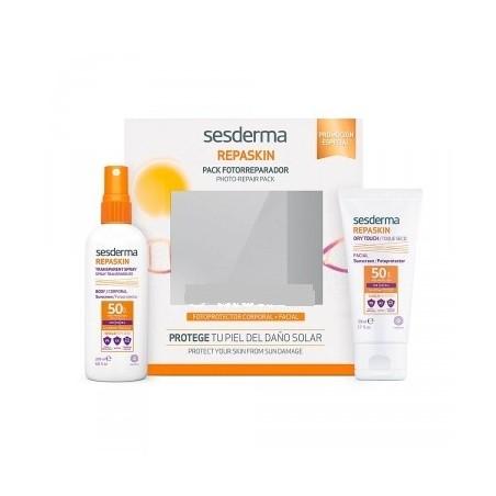 Sesderma Repaskin Pack Spray Corporal Transparente + Fotoprotector Facial Toque Seco